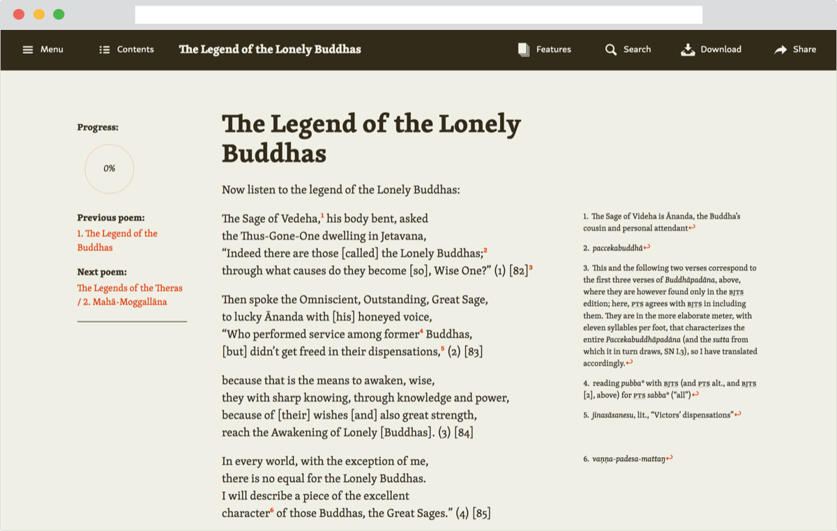 Screenshot of Legends of the Buddhist Saints website