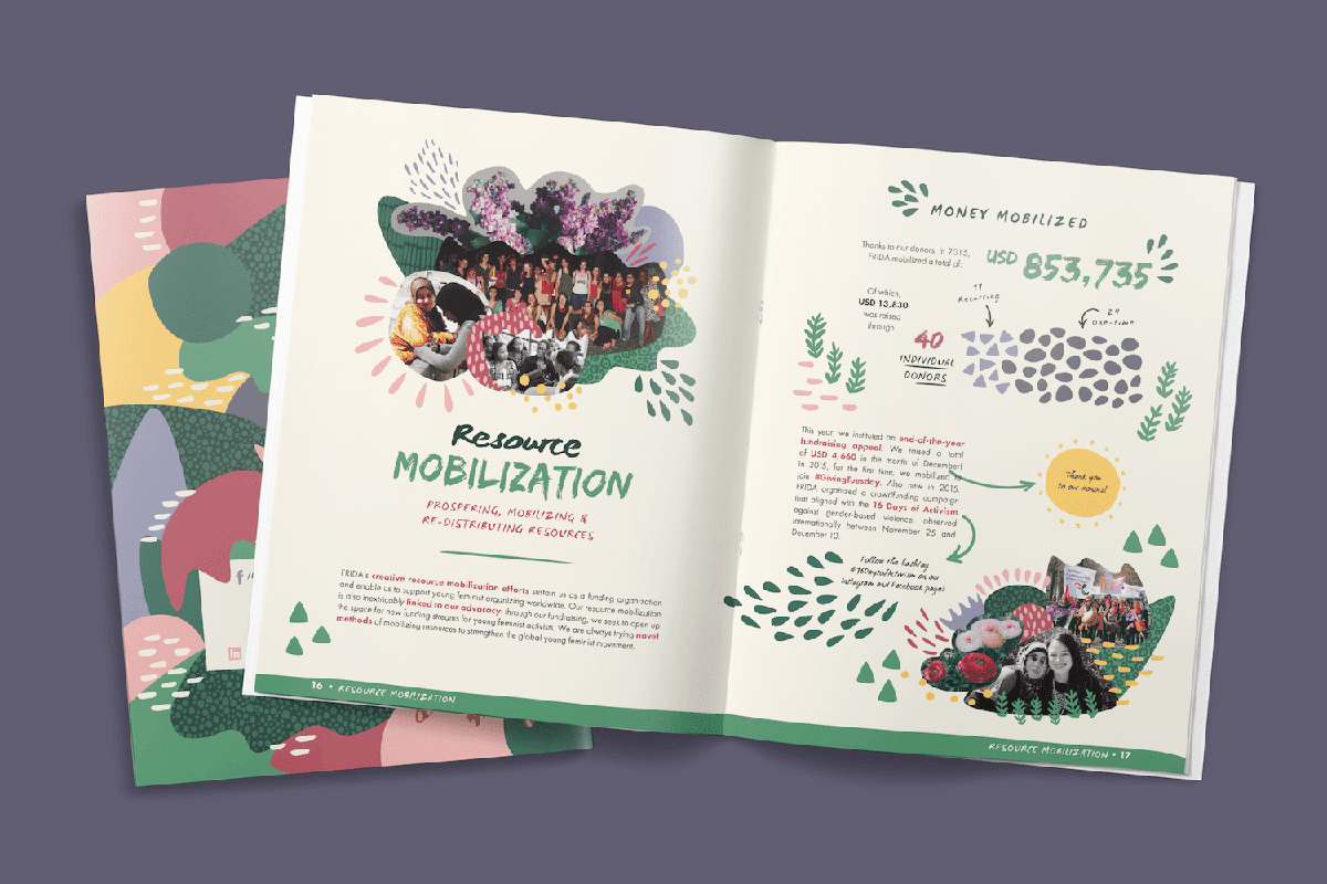 Spread from FRIDA's 2015 Annual Report